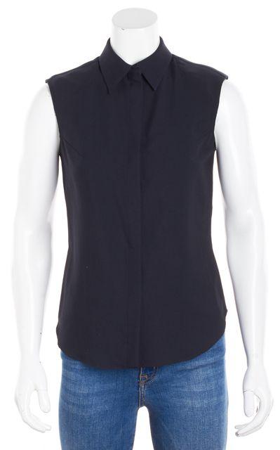 ... BOSS HUGO BOSS Navy Blue Wool Sleeveless Button Down Shirt Blouse