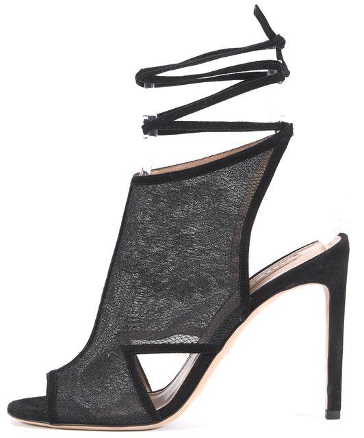BOSS HUGO BOSS Black Suede Ankle Wrap Sandal Heels Size 38.5 US 8.5