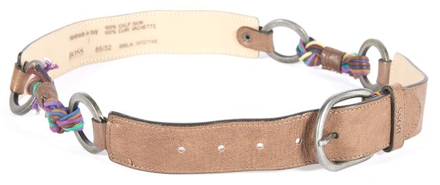 BOSS HUGO BOSS Brown Leather Multi-colored Rope Waisted Belt