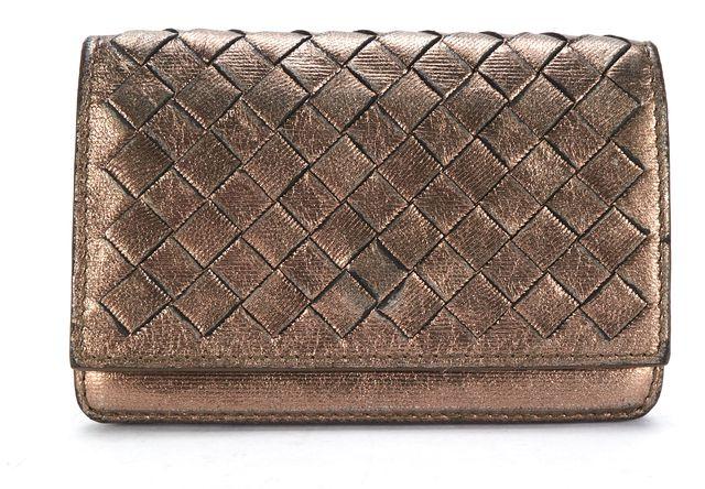 BOTTEGA VENETA Bronze Intrecciato Leather Flap Business Card Case
