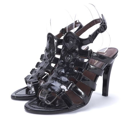 BOTTEGA VENETA Black Patent Leather Stud Open Toe Sandal Heels