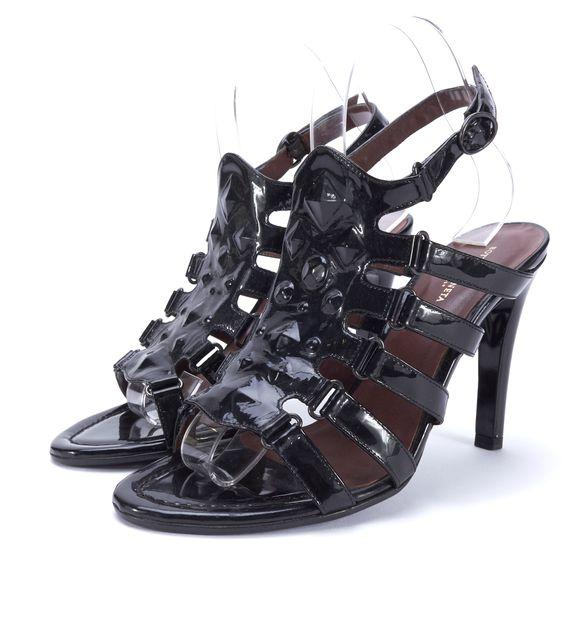 BOTTEGA VENETA Black Patent Leather Stud Open Toe Sandal Heels