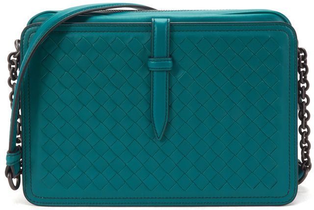 BOTTEGA VENETA Auth $2400 Teal Blue Intrecciato Woven Leather Chain Strap Bag