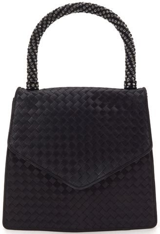 BOTTEGA VENETA Auth Black Intrecciato Woven Jewel Top Handle Bag