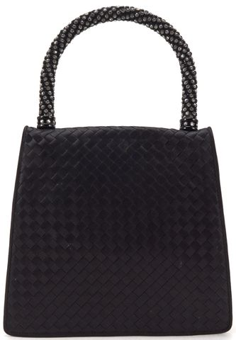 BOTTEGA VENETA Black Intrecciato Woven Jewel Top Handle Bag