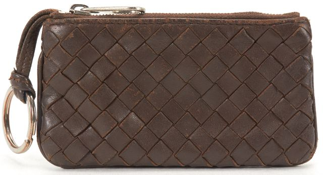 BOTTEGA VENETA Brown Intrecciato Woven Leather Card Holder Wallet