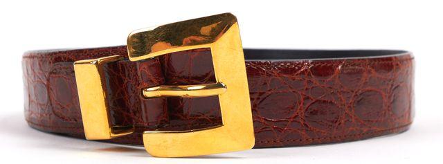 BOTTEGA VENETA VINTAGE Oxblood Red Embossed Leather Gold Buckle Belt Size 32
