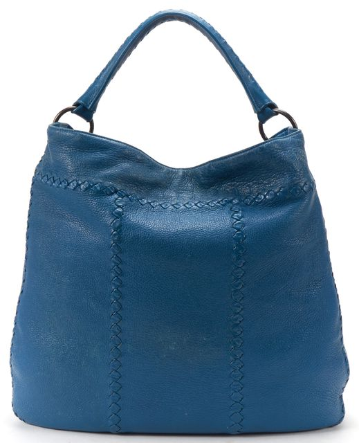 BOTTEGA VENETA Blue Woven Leather Large Cervo Hobo Handbag