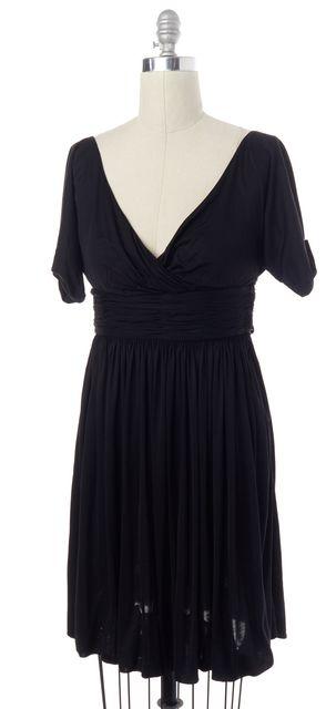 BOTTEGA VENETA Black Silk V Neck Fit & Flare Dress