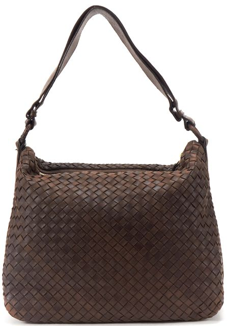 BOTTEGA VENETA Brown Intrecciato Woven Leather Shoulder Handbag