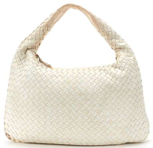 BOTTEGA VENETA White Intrecciato Woven Leather Small Hobo Handbag
