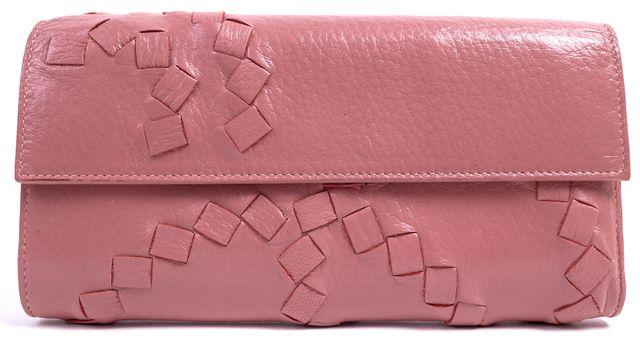 BOTTEGA VENETA Pink Intrecciato Woven Leather Continental Wallet