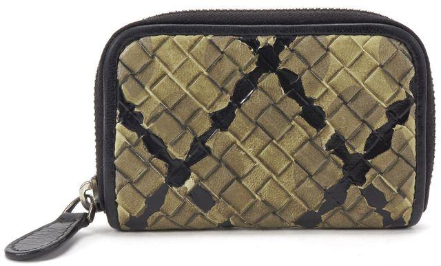 BOTTEGA VENETA Black Multi Intrecciato Woven Leather Card Holder Wallet