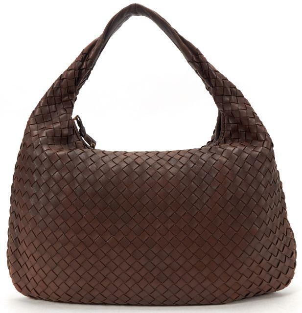 BOTTEGA VENETA Brown Intrecciato Woven Leather Hobo Handbag
