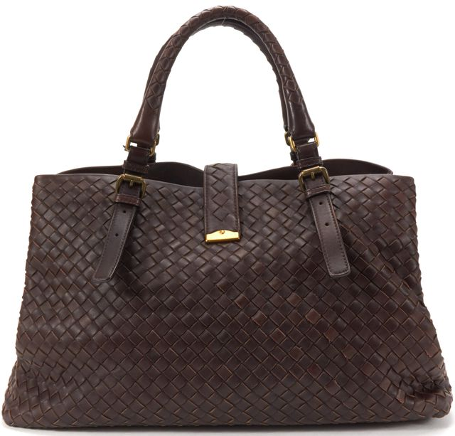 BOTTEGA VENETA AuthBrown Intrecciato Woven Leather Medium Roma Tote Handbag