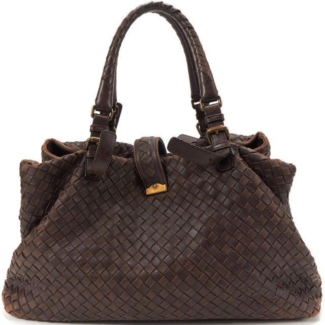 BOTTEGA VENETA Brown Intrecciato Woven Leather Roma Tote Handbag