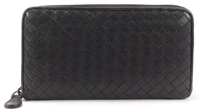 BOTTEGA VENETA Black Intrecciato Woven Leather Long Zip Around Wallet