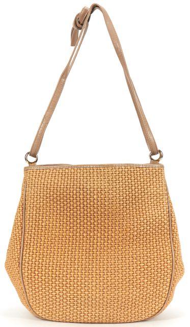 BOTTEGA VENETA VINTAGE Brown Woven Raffia Medium Shoulder Bag