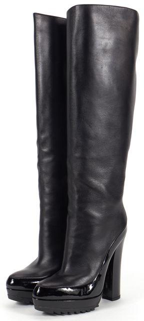 BOTTEGA VENETA Black Patent Leather Tall Boots