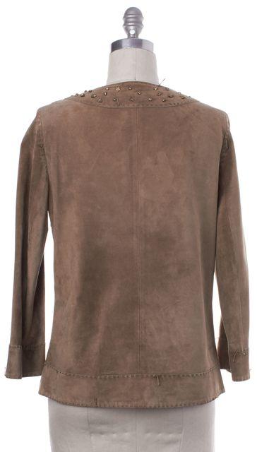 BOTTEGA VENETA Brown Gold Embellished Suede Leather Top