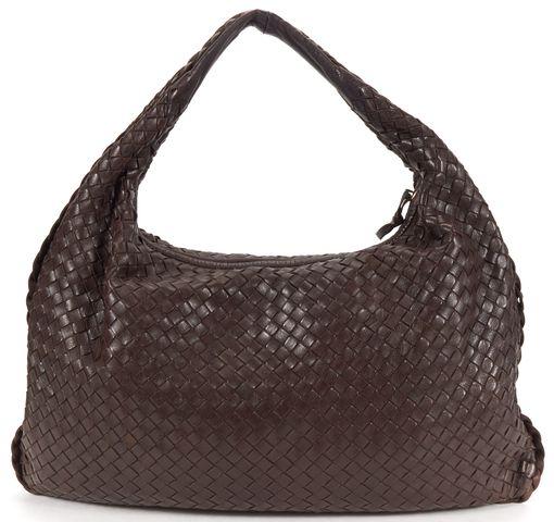 BOTTEGA VENETA Authentic Brown Braided Nappa Leather Hobo Shoulder Bag