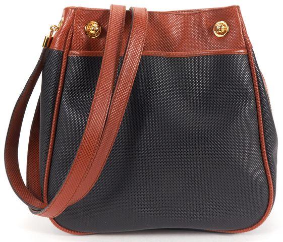 BOTTEGA VENETA Authentic Vintage Brown Black Textured Leather Shoulder Bag