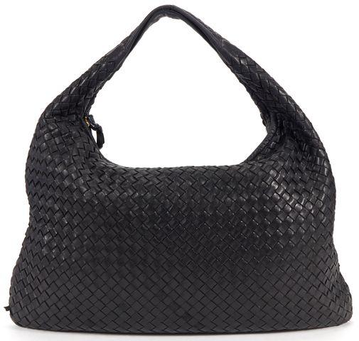 BOTTEGA VENETA Black Woven Nappa Leather Large Hobo Shoulder Bag
