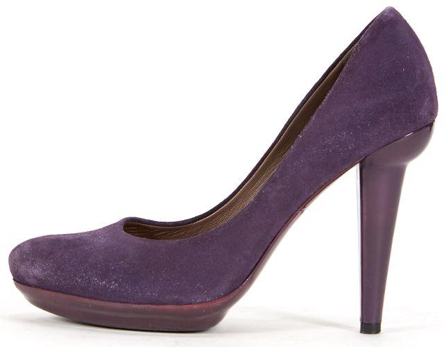BOTTEGA VENETA Purple Suede Round Toe Platform Pump Heels