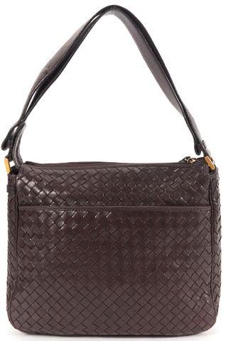 BOTTEGA VENETA Brown Intrecciato Woven Nappa Leather Shoulder Bag