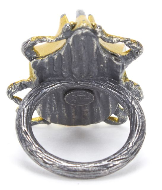 BOTTEGA VENETA $ 330 Gold Sterling Silver Scarab Ring