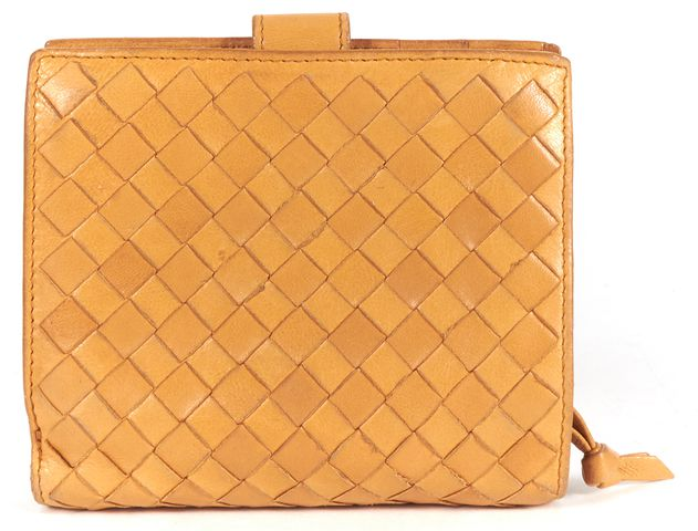 BOTTEGA VENETA Mustard Yellow Intrecciato Woven Nappa Leather Wallet