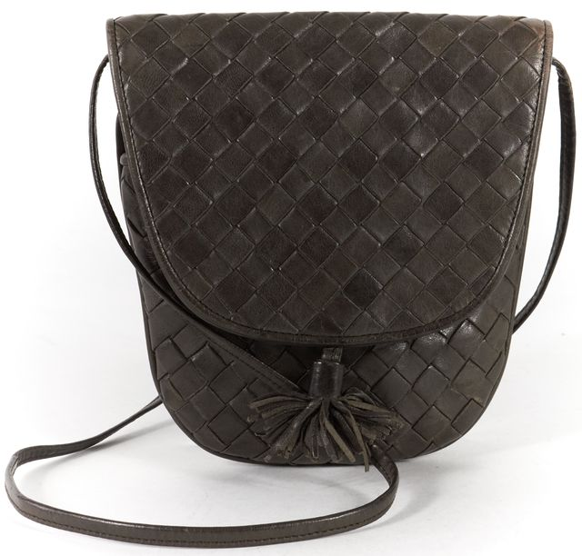 BOTTEGA VENETA Vintage Brown Intrecciato Woven Leather Small Crossbody Bag