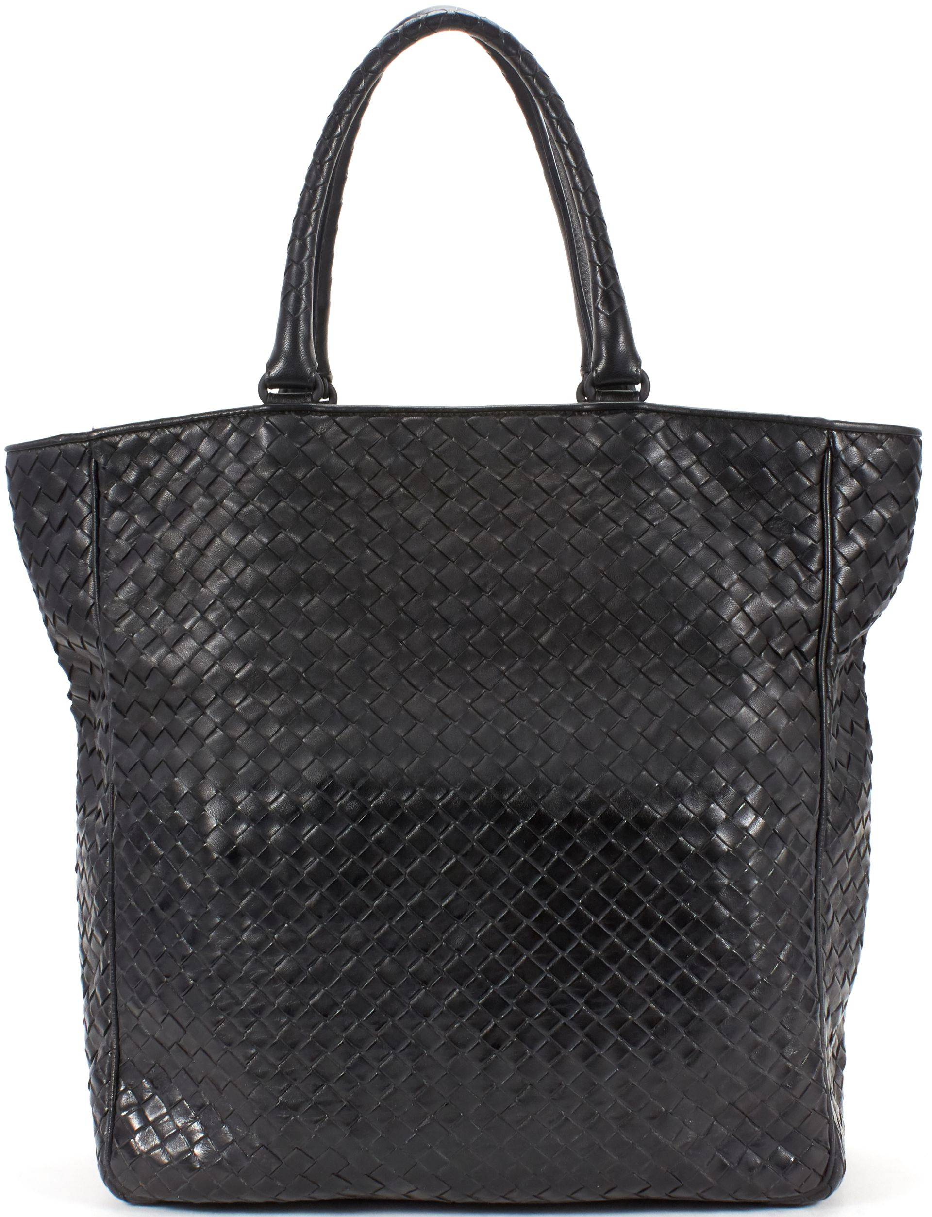 Bottega Veneta Black Intrecciato Woven Nappa Leather Large Tote ...