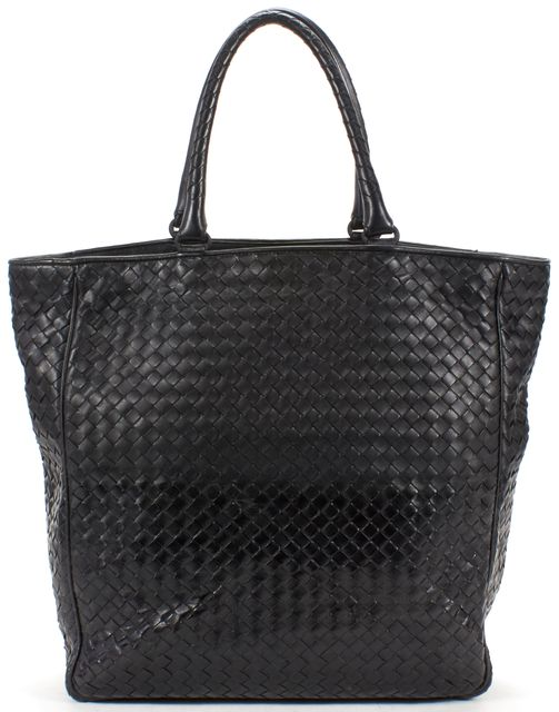 BOTTEGA VENETA Black Intrecciato Woven Nappa Leather Tote Bag