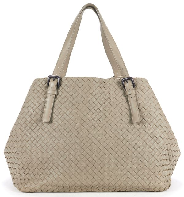 BOTTEGA VENETA Taupe Leather Barolo Intrecciato Nappa Large Tote Bag