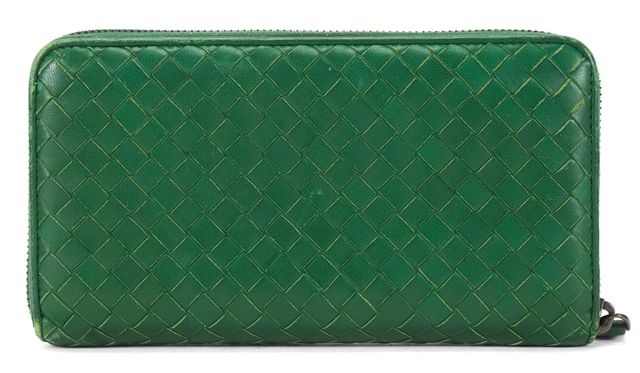 BOTTEGA VENETA Green Intrecciato Woven Leather Long Zip Around Wallet
