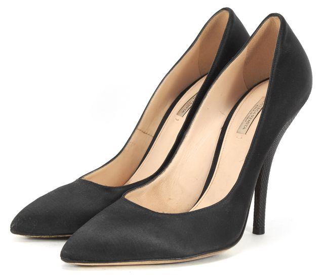 BOTTEGA VENETA Black Pointed Toe Pump Textured Leather Heels