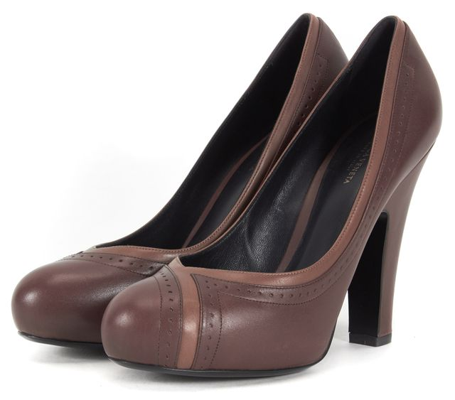 BOTTEGA VENETA Brown Tan Leather Round Toe Pumps
