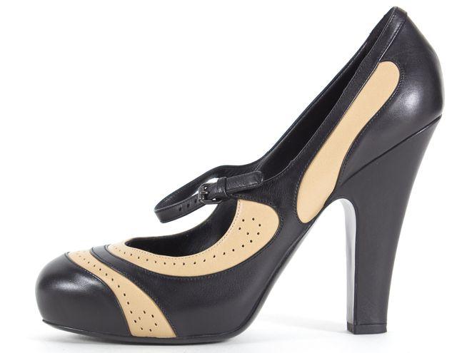 BOTTEGA VENETA Black Nude Ankle Strap Mary Jane Pump Heels