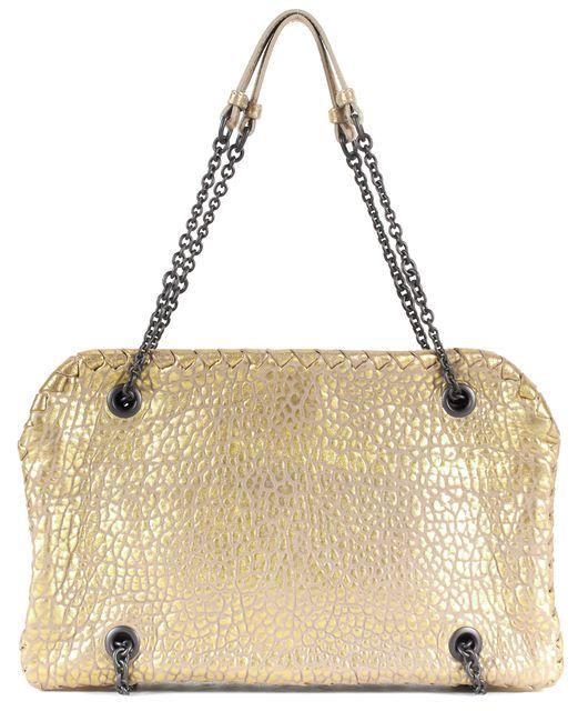 BOTTEGA VENETA Gold Metallic Beige Textured Leather Chain Strap Shoulder Bag