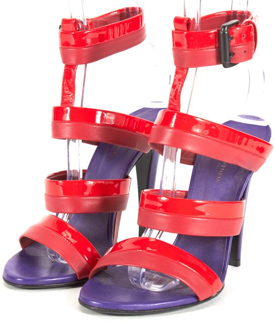 BOTTEGA VENETA Red Purple Leather Ankle Strap Sandal Heels