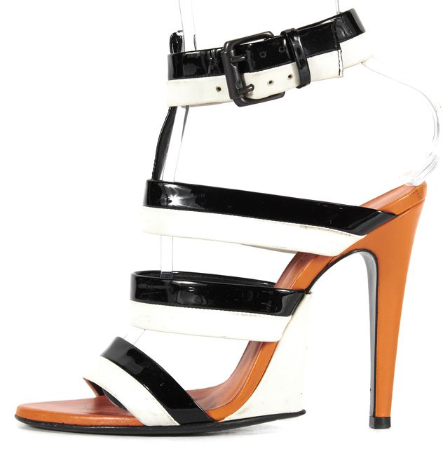 BOTTEGA VENETA Black White Striped Leather Pump Heels Sandal