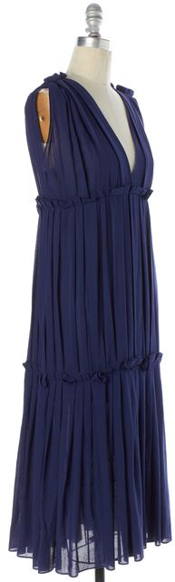 BOTTEGA VENETA Blue Ruffled Sleevless Sheath Dress