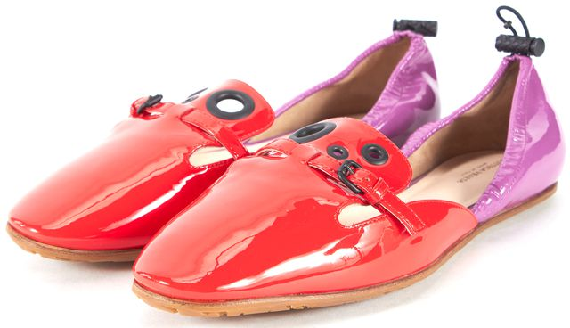 BOTTEGA VENETA Red Purple Patent Leather d'Orsay Flats