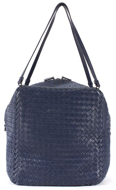BOTTEGA VENETA Navy Blue Intrecciato Woven Leather Tote Bag