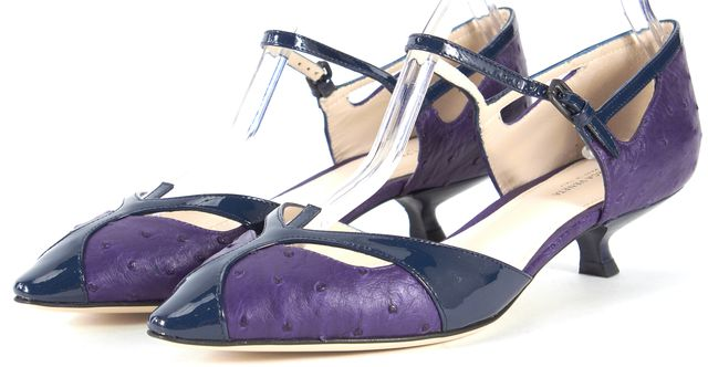 BOTTEGA VENETA /NWB Purple Ostrich Leather Mary Jane Heels