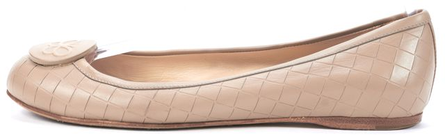 BOTTEGA VENETA Beige Embossed Leather Flats