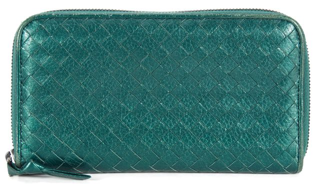 BOTTEGA VENETA Teal Green Intrecciato Woven Leather Long Zip Around Wallet