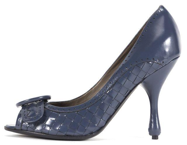 BOTTEGA VENETA Baltic Blue Intrecciato Woven Leather Peep Toe Heels