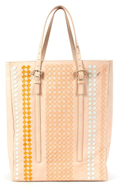 BOTTEGA VENETA Beige Pastel Pink Blue Woven Leather Tote Bag